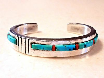 """Native """"""""loloma Style"""""""" Turquoise Coral Sandcast Sterling Silver Cuff Bracelet"""
