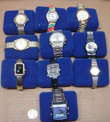 Wrist watch lot of 10 Quarts working watches, new batteries, wristwatch
