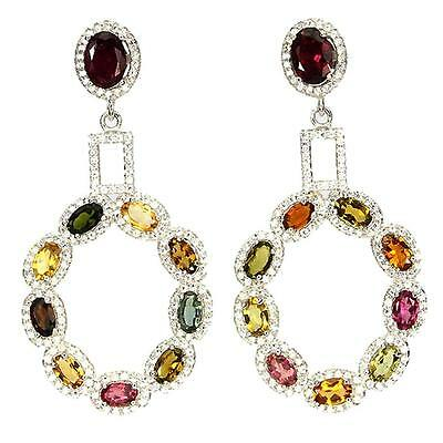 Earrings Tourmaline multicolored Argent 925