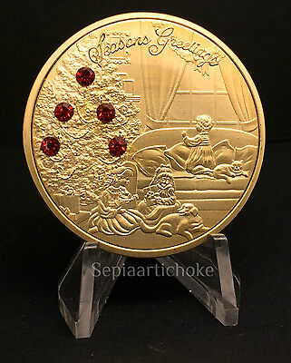 Victorian Gold Christmas Coin with Red Crystals town scene & Santa Claus Gift