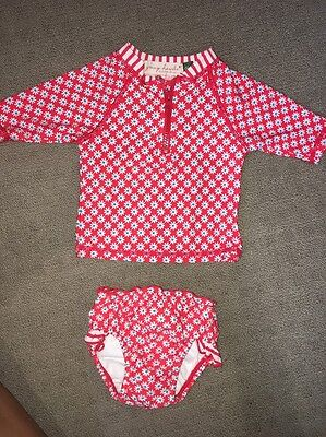 Young Hearts Baby Girl Swim Set. Rashie And Swim Nappy. Size 000bnwot. Togs