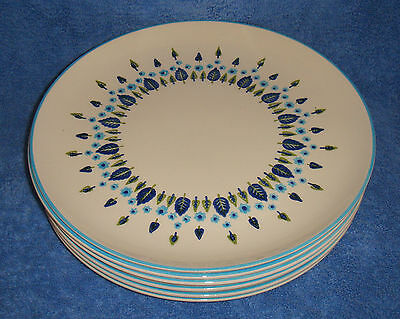 "Marcrest, Swiss Alpine (Stetson, '60+) - Set Of Six 10"" Dinner Plates (VG+)"