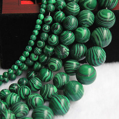 Natural Malachite Gemstone Round Loose Spacer Beads Jewellery Findings 4-12mm