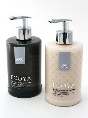 ECOYA Set of TWO 2 Hand Wash Body Lotion 500ml Pump Packs Coconut & Elderflower