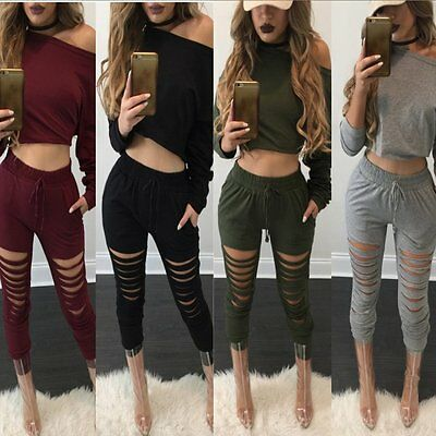 Women Tracksuit 2Pcs Set Sweatshirt Tops Trousers Pants Casual Suit Sports Wear