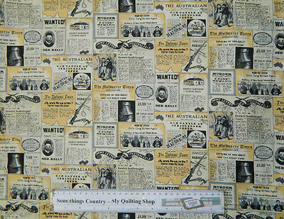 Quilting Patchwork Sewing Cotton Fabric NED KELLY NEWSPAPER 50x55cm FQ NEW