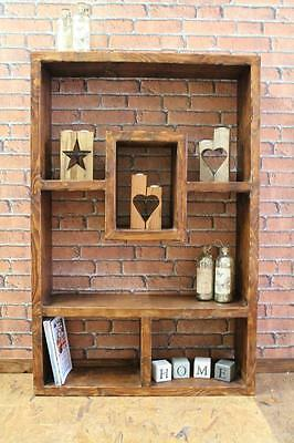 Chunky Rustic Wooden Bookcase Handmade Upcycled Wall Shelving Unit Storage