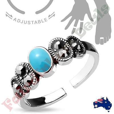 Silver Rhodium Plated Black CZ and Turquoise Center Adjustable Toe Ring/Mid Ring