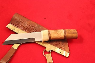 Viking Sax Knife,scabbard With Brass,seax Knife With Urnes Bronze Fitting