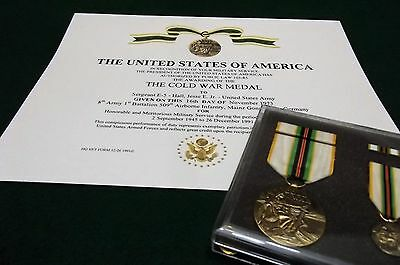 The Cold War Medal 4 Piece Set with Certificate Army Navy USAF USMC Coast Guard
