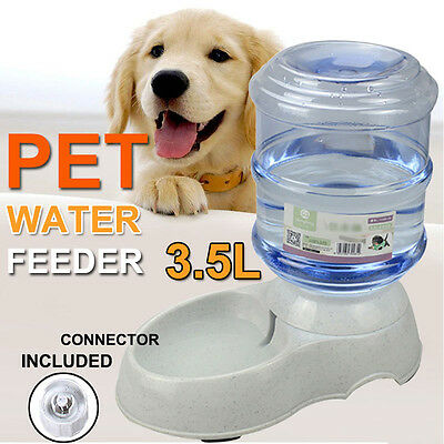 Large 3.5Liters Auto Pet Cat Dog Water Feeder Bowl Bottle Dispenser Plastic AU