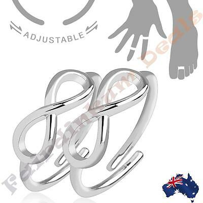 Silver Rhodium Plated Double Infinity Symbol Adjustable Toe Ring/Mid Rings