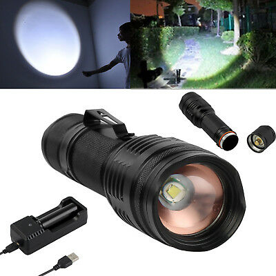 5000LM CREE T6 LED Zoomable 18650 Flashlight Rechargeable Clip Torch Light Lamp