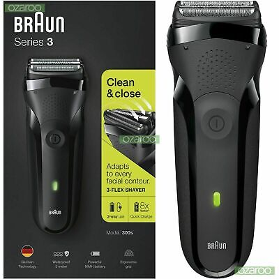 Braun Series 3 300s Electric Rechargeable Shaver Waterproof Razor for Men, Black