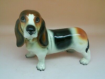 Vintage / Retro 1960s Bassett Hound Glossy Ceramic Ornament 17cm Long