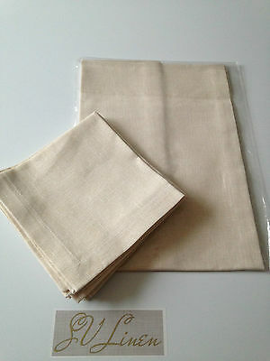 Set of Natural Linen Table runner and  Napkins(White/Silver  or White/Gold)