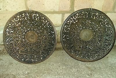 2 Antique Coalbrookdale charger wall plate GREAT EXHIBITION Cast Iron Bronzed