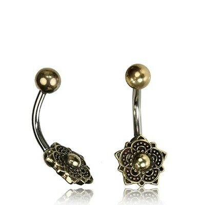Tribal Belly Ring 14G 1.6Mm Solid Brass Naval Bar Mandala Flower Boho Gypsy