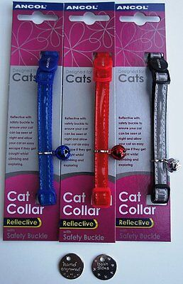 ANCOL GLOSS REFLECTIVE SAFETY CAT COLLAR with or without ENGRAVED CAT ID TAG
