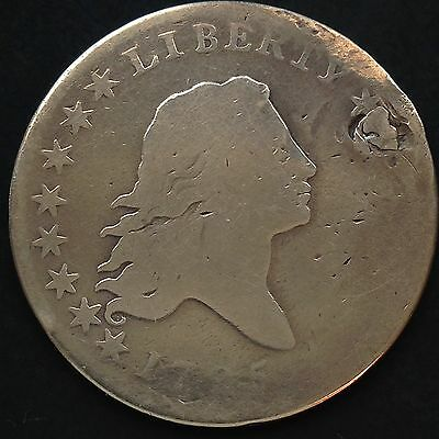 1795 Flowing Hair Half Dollar Silver RARE plugged 50c from the early days #4008