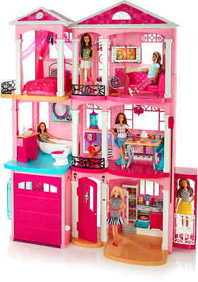 Barbie Dreamhouse Pink 3 Three Story Furnished Doll Girls Toy