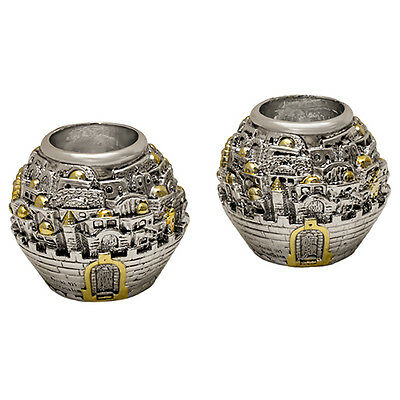 "2 Silver Ball Candle Holders Souvenir from Jerusalem Holy Land Gifts 3.5""/8cm"