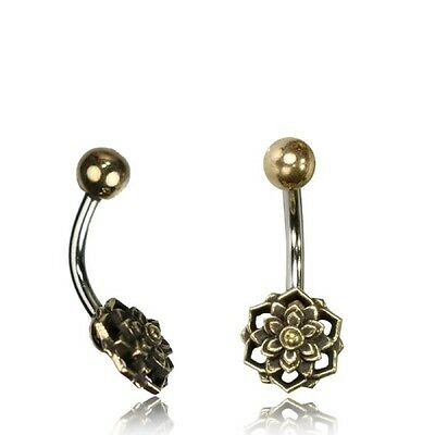 Tribal Belly Ring 14G 1.6Mm Solid Brass Naval Bar Mandala Boho Gypsy Yoga