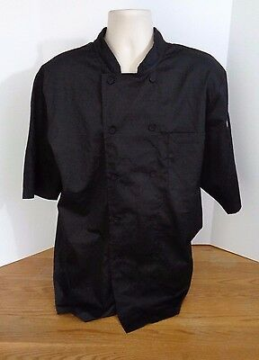 NWT Chef Works Cool Vent Short Sleeve Chef Coat Black-Large L NEW Costume Food