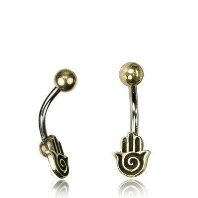 Tribal Belly Ring 14G 1.6Mm Brass Naval Bar Hamsa Fatima Hand Boho Gypsy Yoga