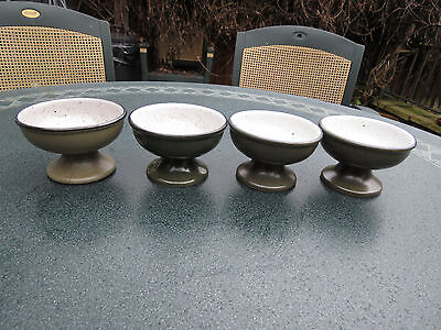 4 VINTAGE PURBECK USED STONE POTTERY POOLE GRAPEFRUIT BOWLS DISHES  (No 38 )