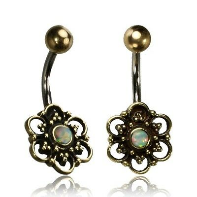 Tribal Belly Ring 14G 1.6Mm Brass Naval Bar Mandala & Faux Opal Boho Gypsy Yoga