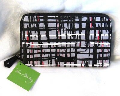 Vera Bradley Black White Art Plaid Faux Leather Accordian Zip Around Wallet NEW