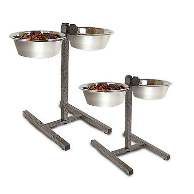 Heavy Duty Adjustable Dog Raised Double Diner Stand Food Water Pet Feeding Bowls