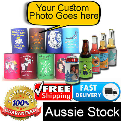 Personalised Photo Quality ® Stubby Coolers Holders Bottle Gifts Can Beer Soda