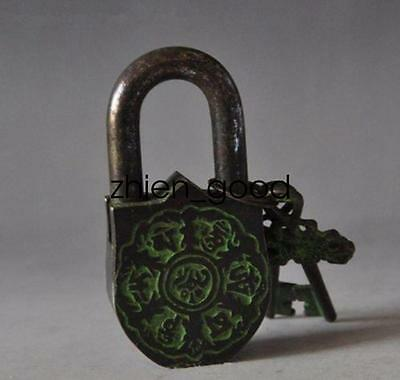 China's Tibet Buddhism bronze sculpture white tara big door lock the key CZ406