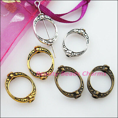 10 New Charms Oval Dot Spacer Frame Beads 14.5x19.5mm Tibetan Silver Gold Bronze