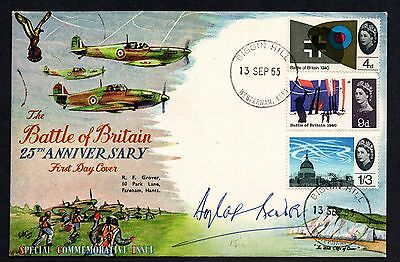 GB 1965 Battle of Britain Signed Douglas Bader Illustrated First Day Cover FDC
