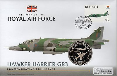 PNC Kiribati, History of the RAF, Hawker Harrier GR3, Crown coin & stamp, (41)