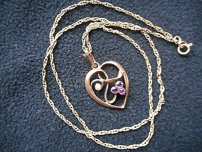 Delicate & very Pretty Edwardian Rose Rolled Gold Real Amethyst & Pearl Pendant