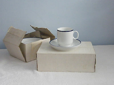 Coffee Cups/Saucers x 6 - White with Blue Rim - Thomas of Germany