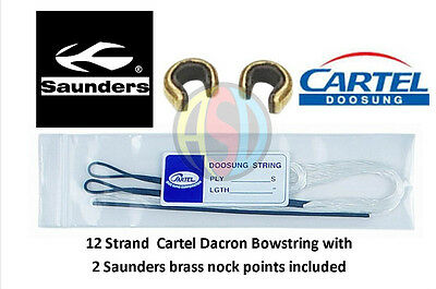 Cartel Archery Recurve Bow String 12 Strand Dacron with 2 Saunders nock points !