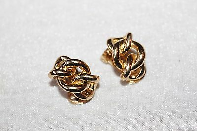Vintage CHRISTIAN DIOR Gold Plated Chain link Clip On EARRINGS