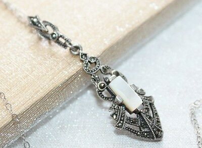 ART DECO Vintage STERLING SILVER Mother Pearl & MARCASITE Pendant Chain Necklace