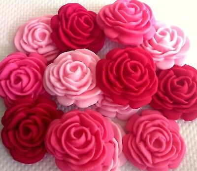 12 MIXED PINK EDIBLE ROSES Stunning sugar decoration  wedding  cupcakes birthday