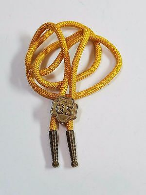 Vtg Girl Scouts Gold Tone Emblem Slide Bolo Necklace Tie Yellow Scarf Rope 32""