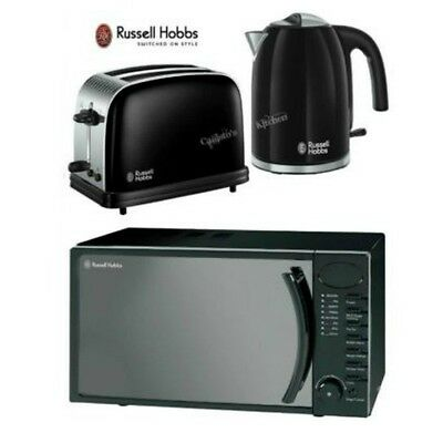 Russell Hobbs Colours Plus Kettle and Toaster Set & Digital Black Microwave New
