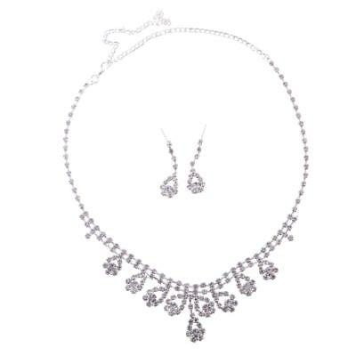 Wedding Bridal Rhinestone Crystal Necklace Earrings Jewelry Sets