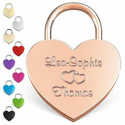 Heart Love Lock Engraved - Gift Idea With Desired Engraving & Free Packaging