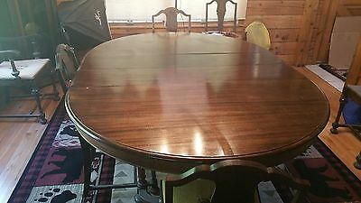 Antique Oval Mahogany Set, 4-Leaf Table, 6 Chairs, Early 1900
