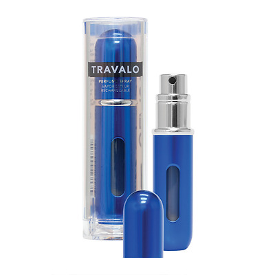 Travalo Blue Classic Atomiser, easy fill perfume spray. Aircraft Approved